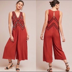Anthropo Maeve Desert Embroidered Jumpsuit Size 4